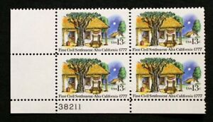 US Plate Blocks Stamps #1725 ~ 1977 FIRST CIVIL SETTLEMENT 13c Plate Block MNH