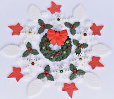 Edible Christmas cake holly, wreath and snowflakes cake toppers decorations