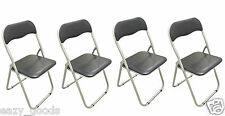 Folding Chair In Black Box Of 4 Office Dining Garden BBQ Picnics - Fast Shipping