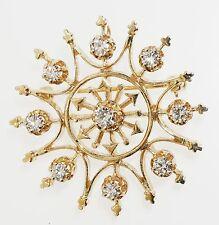 14K YELLOW GOLD DIAMOND STAR PIN PENDANT VINTAGE ESTATE FANCY PATTERN 1 CTTW