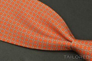 """HERMES 045635 EA Orange Geometric 100% Silk Mens Luxury Tie - 3.75"""""""