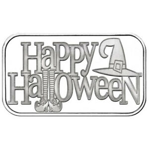 HAPPY HALLOWEEN FLYING WITCH RARE 1 OZ .999 SILVER ARTROUND