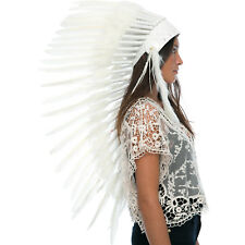 Long Feather Headdress- Native American Indian Inspired -ADJUSTABLE- All White