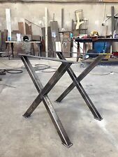Industrial style X frame table/desk legs - raw steel - Made at THE IRON MILL UK