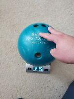 Vintage Brunswick Axis 14 LB Bowling Ball Teal Blur Swirls Excellent DFW7475