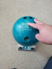 Vintage Brunswick Axis 14 LB Bowling Ball Teal Blur Swirls Excellent DFW7475