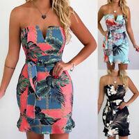 Women Summer Strapless Sleeveless Floral Print Tube Bodycon Casual Mini Dress