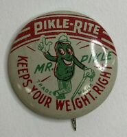 Vintage Pickle-Rite Mr. Pickle Advertising Pinback Keeps Your Weight Right