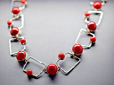 925 Sterling Silver Round Coral on Square Silver Links with Toggle Clasp New