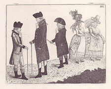 John Kay Original Antigua Grabado. grandes Andrew Fraser, Andrew Erskine.., 1785