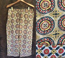 NWOT Tan Red Blue Geometric India Block Print Cotton Pajama Boho Lounge Pants XL