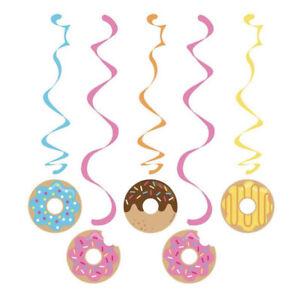 NIP Donut Time Hanging Dangler Decorations Paper 5 Pc Doughnut Grow Up Birthday