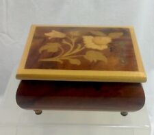 Vintage Reuge Music Box Inlay Wooden Italy Windup 1583 Plays Fascination Waltz
