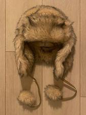 NUDE GREY FUR HAT RUSSIAN COSSACK WARM  TOWIE WINTER CELEB LUXURY GLAM CHIC HEN