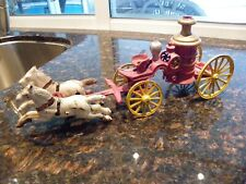 Vintage Cast Iron Toy Horse Drawn Firee Engine Truck Carriage Wagon