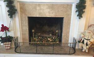"19th Century Antique Brass & Iron Wirework 53""L Fireplace Fire Screen Fender"