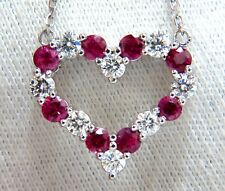 1.90ct Natural Ruby Diamond Open Heart Necklace 14kt.
