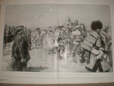 Japan army honour the fallen as samurai Russo-japan war Manchuria 1905 print
