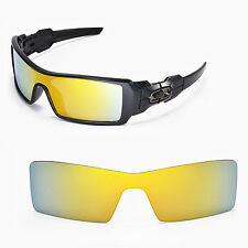 New Walleva Polarized 24K Gold Replacement Lenses For Oakley Oil Rig Sunglasses