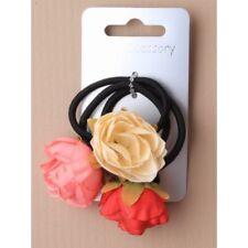 3 X Noir Elastiques à Cheveux avec Fleurs Crème/Rouge / Rose