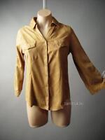 Sale Steampunk Equestrian Western Camel Faux Suede Women Top 108 mv Shirt S M L