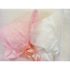 NEW Baby Girl  BRODERIE ANGLAISE Pink or White bonnet / hat - SUMMER 0-12 MONTHS
