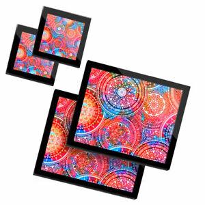 2 Glass placemates & 2 Glass coaster  - Pink Geometric Indian Mandala  #14425