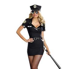 Ladies Women Black Cop Police Uniform Party Fancy Dress Costume Outfit & Hat