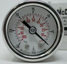 "McDaniel Controls SSLK 1-1/2"" Dial Vacuum Gauge 1/8""NPT Back Conn. 30""-0 Hg"