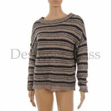 OUI Jumper Grey & Blue Striped Round Neck Chunky Knit Size 38 / UK 12 MG 42