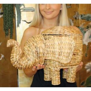 """Opalhouse Elephant Basket Rattan Wicker Water Hyacinth 12"""" Planter Storage"""