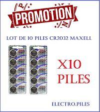 PROMOTION !! Lot de 10 piles CR2032 de marque MAXELL, prix givré !!