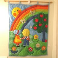 Vintage Holly Hobbie Crib Quilt Wall Hanging Rainbow Butterfly Flowers Apples
