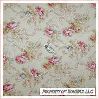 BonEful Fabric FQ Cotton VTG Cream Pink Victorian Shabby Chic Rose Flower Ribbon