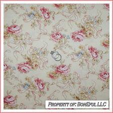BonEful Fabric Cotton Cream Pink Victorian Shabby Chic Rose Flower Ribbon SCRAP