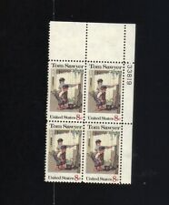 BLOCK OF 4 - 8 CENT STAMPS TOM SAWYER AND FRIEND WHITEWASHING THE PICKET FENCE
