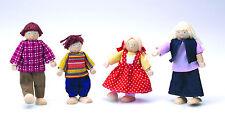 DOLLHOUSE  FAMILY  4 Wooden Caucasian Dolls #54135 ~ Original Toy Co.