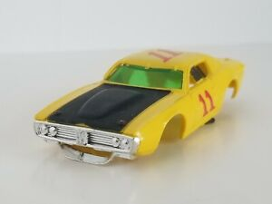 AFX AURORA DODGE CHARGER # 11 YELLOW VINTAGE HO SLOT CAR BODY ONLY