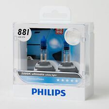 2015 Philips 5000K Diamond Vision 881 Halogen Bulb 12V 27W (2PC) Made in Germany