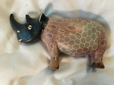 """Vintage African Naked Rhino Figurine Hand Carved Stone Two Toned 6"""" L"""