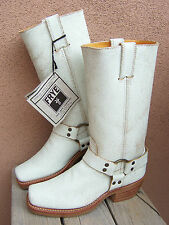 FRYE Womens Cowboy Boots White Leather Harness Square Toe Western Riding Size 7M