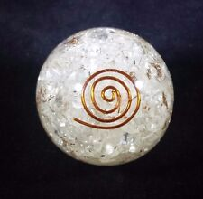 LARGE (60-70mm) CLEAR QUARTZ STONE ORGONE GEMSTONE SPHERE ORGONITE SPHERE