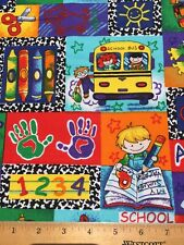 """100% Cotton Fabric Back To School BUS 123s ABCs 18""""x22"""" FQ DIY Mask / Quilting"""