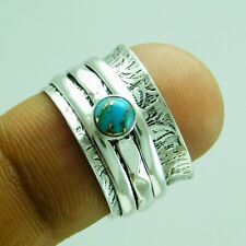 Blue Copper Turquoise 925 Silver Plated Jewelry Spinner Ring US Size 8 R-8309
