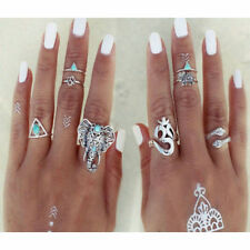 Turquoise Tribal Fashion Rings Hippie Gothic Elephant Snake Stacking 8PCS Rings