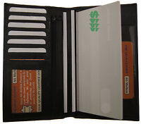 Genuine Cowhide Leather Checkbook ID Credit Card Organizer Secretary Wallet BK