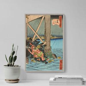 Utagawa Hiroshige - Shower at Ryoguko Bridge (1859) Poster Art Print Painting