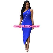 Sexy Club Women Summer Fashion One Shoulder Zipper Front Bodycon Maxi Evening