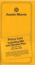 Austin Morris MG Vanden Plas UK Price List 1976 Mini Maxi Allegro Marina Taxi