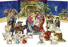 Pié Escena Natividad - 16 figuras de tarjeta Resistente Natividad con soportes